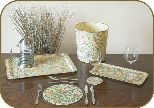 Arnold Designs - High quality unbreakable fibreglass serving trays using furnishing fabrics